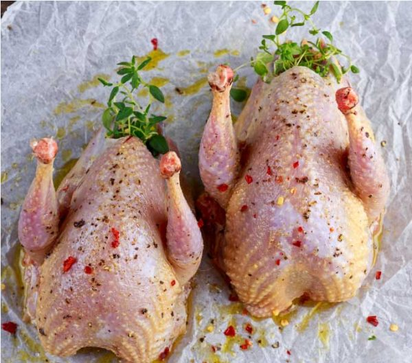 two raw partridges
